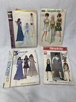 Lot of 4 Retro 1968-1974 Size 9 DRESS PATTERNS Wedding Dress McCalls Simplicity