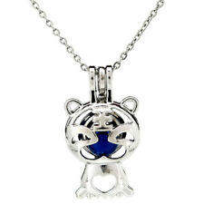 K907 Silver Cartoon Tiger Beads Cage Oil Diffuser Pearl Locket Necklace Pendant