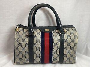 Authentic Vintage Gucci Boston Doctor Satchel Bag Blue GG PVC Supreme Stripe