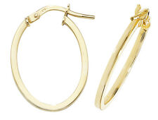 9ct Yellow Gold Hoop Ladies Oval Earrings 15MM 0.8gr *FREE UK SHIPPING* ER1007V3