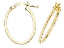 9ct Yellow Gold Hoop Ladies Oval Earrings 15MM 0.8gr *FREE UK SHIPPING* ER1007V3