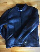 NEW Ugg Australia Refugio Genuine Lamb Shearling/Cow Leather XXL Bomber Black