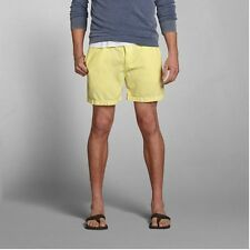 New Abercrombie & Fitch Mens Campus Fit Mid Thigh Casual Shorts Yellow Large