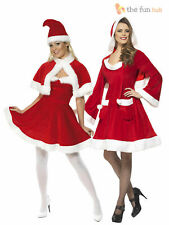 Ladies Miss Santa Claus Mrs Father Christmas Costume Womens Fancy Dress Outfit