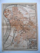 stampa antica old antique print map Serbia street plan Belgrad Beograd 1911