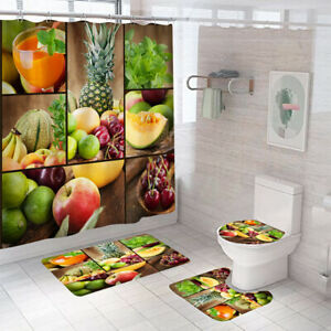 Fruits Bathroom Rug Set Shower Curtain Thick Non Slip Toilet Lid Cover Bath Mat
