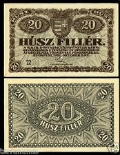 HUNGARY 20 Filler 1920 P#43 paper banknote Ungarn Magyar UNC