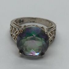 Vintage Sterling Silver Ring 925 Size 8 Purple Green Stone Round