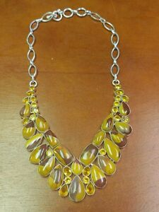 Beautiful Stone Necklace Mookaite Jasper? & Citrine .925 Sterling Silver 101 Gr