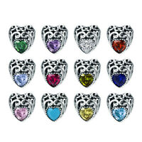 925 Silver Charms Beads 12 birthday Love Heart Hollow Pendant Fit Bracelet Chain