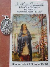 Separated St Kateri Tekakwitha Medal & Prayer Card + First Native American Saint