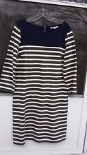 GAP STRIPED KNIT DRESS - SIZE M TALL - NAVY W/ CREAM AND GRAY