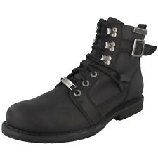 Mens Black Leather Harley Davidson Riding Lace Up Biker Boots Harrison