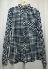 Young  Men's Long Sleeve Plaid Shirt Size M Medium Blue Gear Chest Pocket 1092