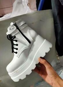 Women's Shoes Platform Ankle Boots Shiny Buckle Strap Wedge Heel Biker Colorful