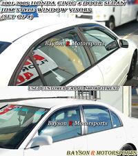 Side Window Rain Guard Visors (Tinted) Fits 01-05 Civic 4dr
