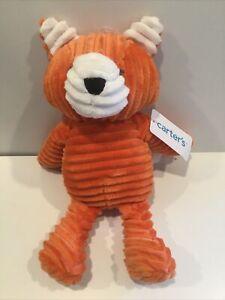 "Carter's 12"" Orange Ribbed Plush Fox Baby Toy NEW"