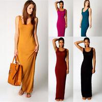 Women's Summer Sleeveless Plain Color Long Maxi Dress Casual Slim Tank Dress HQ
