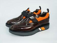 Prada Men's Strap Leather Brogue Wingtip Sneaker, Cacao/Multicolor, MSRP $1,050