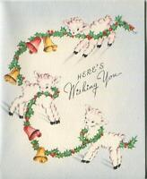 VINTAGE CHRISTMAS WHITE PINK LAMBS HOLLY GARLAND BELLS MID CENTURY GREETING CARD