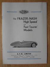 Frazer NASH haute vitesse et rapide Tourer ORIG 1950 UK MKT brochure Bristol BMW