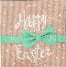 4single paper decoupage napkins. Happy Easter egg, bow, gift, dots,turquoise E31
