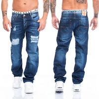Lorenzo Loren Herren Jeans Hose Destroyed Look Blau Stonewashed Denim LL-2512