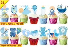 42 Baby Boy Shower New Born Cup Cake Fairy Edible Wafer Rice Toppers STAND UP