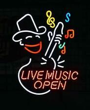 "New Live Music Open Guitar Beer Bar Neon Light Sign 24""x20"""