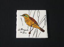 Ancien carreau de carrelage faïence de Gien oiseau La Phragmite des Joncs 11x11