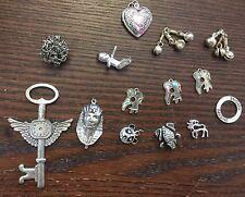 Vintage & Retro Silver Metal & Coated Lucite Locket Pendant Chars Bead Findings