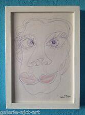 Raymond TRAMEAU Dessin de 1960 Encadré Braque Picasso Modigliani Visage femme