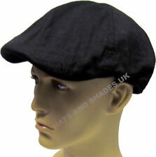 Mens Gents Black Cap 100 Cotton 6 Panel Lightweight S M L XL Available One Size Fits All 58cm to 60cm