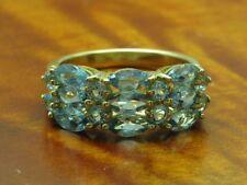 9kt 375 Gelbgold Ring mit 2,02ct Blautopas Besatz / 4,1g / Rg 54,5