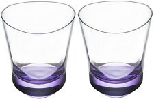 NIB: Set of 8 Orrefors Tre Double Old Fashion Glasses in Purple Ombre