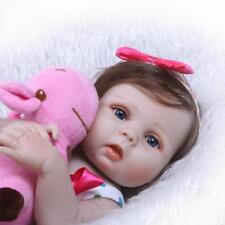 """23"""" Bebe Reborn Silicone Real Lifelike Baby Doll Toddler Alive with Girl Dress"""