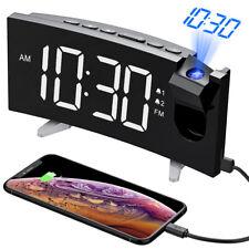 Digital Desk Alarm Clock & Phone Charger Led Display Usb 4 Brightness Fm Radio