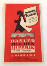 1953 Basel Switzerland Tourist Bulletin Travel Guide, Rolex Watch Advertisement