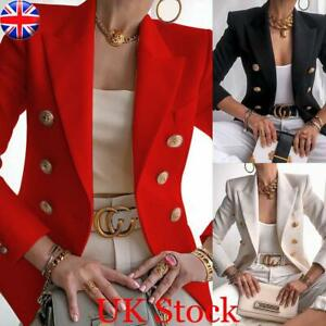 Women Ladies Work OL Button Blazer Slim Jacket Long Sleeve Slim Fit Outwear Suit
