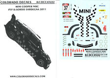 Colorado Decals 1/43 MINI COOPER WRC #37 DANIEL SORDO RALLY SARDEGNA 2011