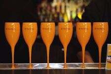 VEUVE CLICQUOT YELLOW CHAMPAGNE POOLSIDE HOT TUB POLYCARB FLUTES NEW UNBOXED X 6