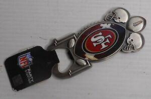 San Francisco 49ers Long Neck Football Pewter Bottle Opener Magnetic Back NFL