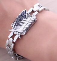 "Attack On Titan Survey Corps Symbol Alloy Bracelet Anime 8"" US Seller"