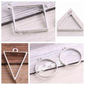 20pcs Silver Drop Alloy Open Back Bezel Pendants Lead & Nickel Free HOT