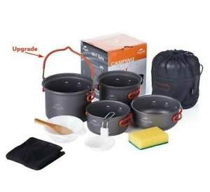 4 pc Updated Lightweight Portable Outdoor Picnic Hiking Camping Cooking Set Pot