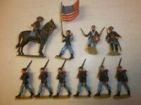 Konvolut 10 alte Elastolin Kunststoff Figuren Nordstaatler USA Bürgerkrieg 4cm