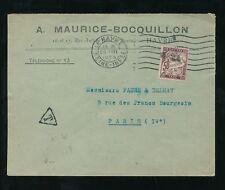 FRANCE POSTAGE DUE 1923 UNPAID BOCQUILLON ENVELOPE LE HAVRE to PARIS 50c