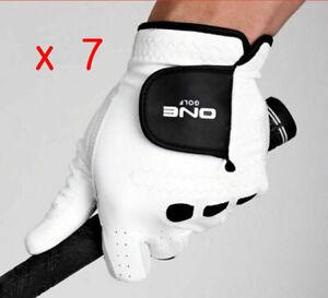 7 ea Premium Cabretta Men's Golf Glove Genuine Leather Tracking No provided