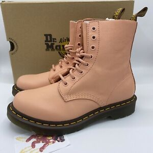 Dr Martens 1460 Pascal Virginia Boots Salmon Pink Leather Womens Size 8