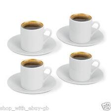 4 Tasse & Sous-tasse Blanc Uni Set Café Espresso - 8 Pièces Set Faveur - Cadeau